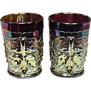 Carnival Glass Tumblers ~  Dugan Glass ~ Maple Leaf Pattern ~ Amethyst ~ 1910