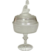 "EAPG ~ Covered Compote ~ Westward Ho! Pattern ~ 11.5"" Tall ~ 1879"