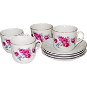 Red Roses Cups and Saucers ~ Germany ~ Early 20th Century