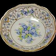 """Schumann Porcelain ~ Bavaria ~ Forget Me Not pattern ~ 4"""" Bowl ~ Open Lace Rim ~ A Pair"""