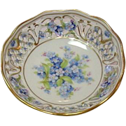 "Schumann Porcelain ~ Bavaria ~ Forget Me Not pattern ~ 4"" Bowl ~ Open Lace Rim ~ A Pair"