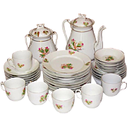 C. H. Haviland China ~ Moss Rose, Pink, Gold Trim ~ Tea Pot + ~ 29 pcs.