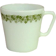 Pyrex USA ~ Spring Blossom ~ Green ~ Coffee / Tea Mugs ~ 1970's
