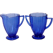 "Depression Glass ~ Newport or ""Hairpin"" Pattern ~ Cobalt Creamer and Sugar ~ Hazel-Atlas Glass company"