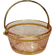 Fostoria Glass ~ Depression Glass ~ Pink ~ Whipped Cream Pail ~ Etched