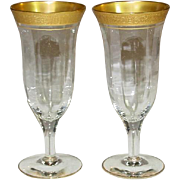 Tiffin Glass ~ Valencia Pattern ~ Gold Encrusted ~ Optic ~ Parfait / Tall Champagne