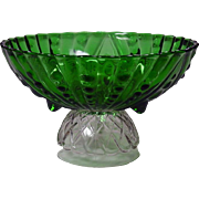 "Anchor Hocking Glass ~ Forest Green ~ Footed Bowl ~ Oyster and Pearl Pattern ~ 8.5"" ~ 1940's"