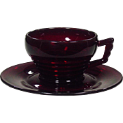Paden City Glass ~ Ruby Red ~ Cups and Saucers ~ 1931-1951 ~ Art Deco Design