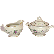 Princess China ~ TruTone USA ~ Sweet Briar Pattern ~ Creamer & Sugar Set ~ Mid 20th Century
