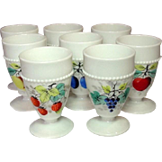 Westmoreland Glass ~ Beaded Edge ~ Fruit Decoration ~ Footed Tumblers ~ 1950's