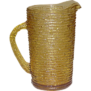 Anchor Hocking Glass ~ Soreno Pattern ~ 28 oz. Juice Pitcher ~ Honey Gold ~ 1966-1970