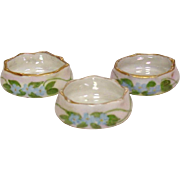 Individual Salt Dips ~ Lustre Finish ~ Handlapinted Floral Decoration ~ Three Pieces