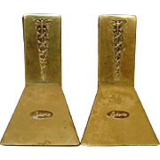 Vintage Brass Bookends ~ Lederle Pharmaceuticals plaque with Caduceus
