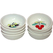 Westmoreland Glass ~ Milk Glass ~ Beaded Edge ~ Fruit Decoration ~ Fruit Bowls ~ Eight Pieces ~ 1950's