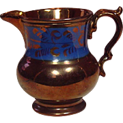 "Copper Lustreware Pitcher ~ Staffordshire, England ~ 19th Century ~ 4 1/4"" ~ Handpainted"