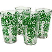 Hazel Atlas Glass Company ~ Four 9 ounce Tumblers ~ Green Leaf Pattern ~ Mid-Century