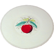 "Westmoreland Glass Company ~ Beaded Edge ~ Fruit Decoration ~ Torte Plate / Round Platter, 14 5/8"" ~ 1950's"
