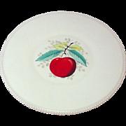 "Westmoreland Glass Company ~ Beaded Edge ~ Fruit Decoration ~ Torte Plate / Round Platter, 14 5/8"" ~ 1950's"