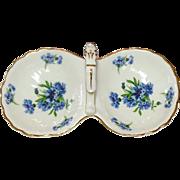 Hammersley Bone China ~ England ~ 2 Compartment Handled Tray ~ Cornflower Blue