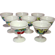 Westmoreland Glass ~ Beaded Edge ~ Fruit Decoration ~ Footed Sherbets ~ Eight Pieces ~ 1950's