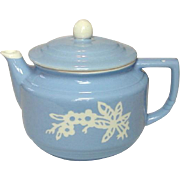 Harker Pottery Company USA ~ Blue Cameoware ~ Coffee / Tea Pot ~ 1930's - 1950's