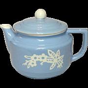 Harker Pottery Company USA ~ Blue Cameoware ~ Coffee / Tea Pot ~ 1930's - 1950's