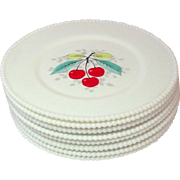 Westmoreland Glass Company ~ Beaded Edge ~ Fruit Decoration ~ Dinner Plates ~ 8 pieces ~ 1950's