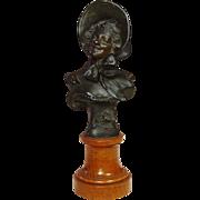 Vintage Bronze Bust on Wood Pedestal ~ Signed, R. Allard ~ Circa 1900 ~ Rose