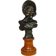 Vintage Bronze Bust on Wood Pedestal ~ Signed, R. Allard ~ Circa 1900 ~ Rose