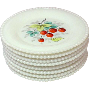Westmoreland Glass ~ Beaded Edge ~ Fruit Decoration ~ Bread and Butter Plates ~ 1950's