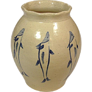 """Art Pottery Vase ~ Artist Signed ~ Handthrown and Handpainted ~ Cobalt Fishes on Tan Body ~ 6 1/2"""""""