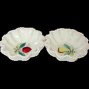 "Westmoreland Glass Company ~ Beaded Edge ~ Fruits Decoration ~ 6"" Crimped Bowls ~ 1950's"