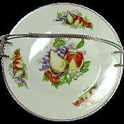 Vintage Sandwich / Fruit Platter with Detachable Metal Handle ~ Fruits Decoration
