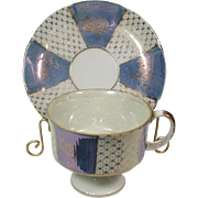 Lustreware ~ Footed Cup and Saucer Set ~ Gilt Decoration ~ Alternating Lavender Blue and White Panels