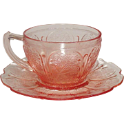 Pink Depression Glass ~ Jeannette Glass Company ~ Cherry Blossom Pattern ~ Cups and Saucers ~ 1930-39
