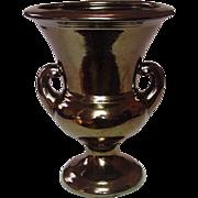 """Haeger Pottery ~ Handled Pedestal Urn Vase ~ Bronze Crackle Finish ~ 9.25"""""""