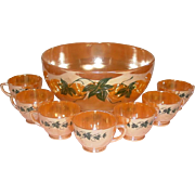 Anchor Hocking Glass ~ Peach Lustre Punch Bowl, Stand, and Cups ~ Green Ivy Leaf Decoration