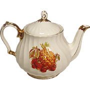 Sadler and Sons Teapot ~ Gilt Trim Swirl Body with Fruits Decal ~ Made in England