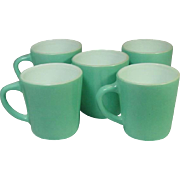 Vintage Glass Coffee Mugs ~ Fired on Color ~ No Marks ~ Greenish blue on White ~ Five Pieces