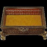 Vintage ~ Metal Filigree Jewelry Casket / Box ~ Goldtone ~ Beveled Glass ~ Putti