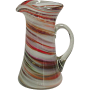 "Blown Art Glass ~ Small Pitcher ~ Swirl Pattern ~ Applied Handle ~ 6 1/4"""