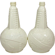 1939 Worlds Fair ~ Cider Vinegar Bottles ~ World Globe ~ Obelisks ~ a Pair ~ Art Deco