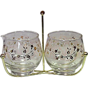 Libbey Glass Company ~ Cream & Sugar Set in Metal Holder ~ Gilt and Pink Snow ~ Mid-Century
