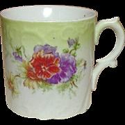Porcelain Shaving or Granny Mug ~ Colorful Floral Decoration ~ Embossed Design ~ Shapely Handle ~ Germany ~ Circa 1900