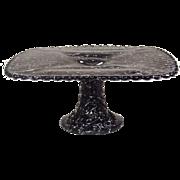 Rare Mid-Century Black Glass Cake Stand ~ White String Spatter Decoration ~ Diamond Pattern on Underside