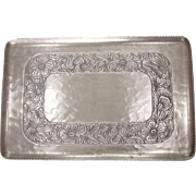 Vintage Forged Aluminum Serving Tray ~ Hammered Surface, Floral Intaglio Design ~ E.M.P. Co.