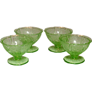 Depression Glass ~ Jeannette Glass Company ~ Cherry Blossom Pattern ~ Sherbets ~ Green ~ 1930-1939