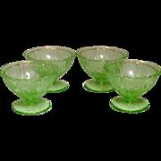Depression Glass ~ Jeannette Glass Company ~ Cherry Blossom Pattern ~ Sherbets ~ Green ~ 1930-1939