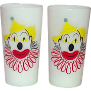 Hazel-Atlas Glass Company ~ Clown Tumblers ~ Opal Ware ~ A Pair