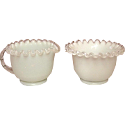 Fenton Art Glass Company ~ Silver Crest Pattern ~ Sugar and Creamer Set
